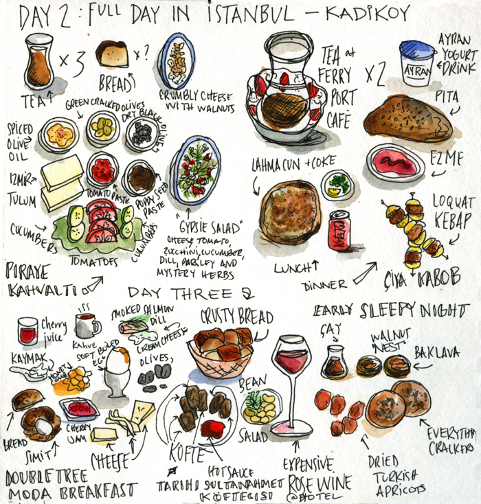 turkish foods in istanbul illustrated